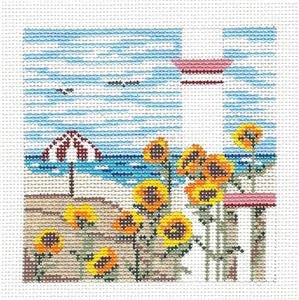 Canvas~ Sunflower Beach handpainted Needlepoint Canvas by Needle Crossings
