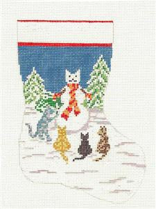 Stocking~Four Cats Mini handpainted Needlepoint Canvas~by Needle Crossings