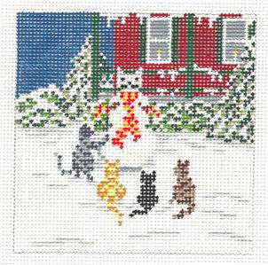 Canvas~4 Cats Building a Snowman handpainted Needlepoint Canvas~by Needle Crossings