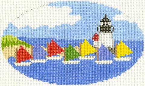 Oval~Rainbow Sailing Fleet Oval Nantucket Ornament handpainted Needlepoint Canvas~by Silver Needle