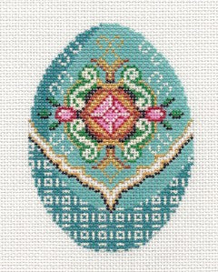 Faberge Elegant Turquoise Jeweled EGG handpainted Needlepoint Canvas Ornament by LEE