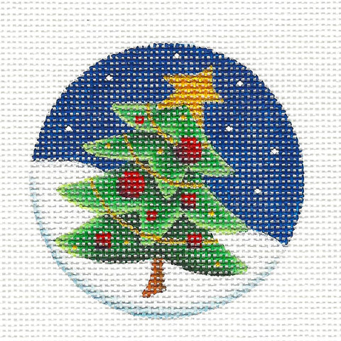 Christmas Round ~ Leaning Tree handpainted Needlepoint Canvas by Rebecca Wood