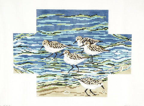 Brick Cover~ 5 Sanderlings at the Waters Edge handpainted Needlepoint Canvas by Needle Crossings