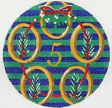 12 Days of Christmas 5 Golden Rings on Hand Painted Needlepoint Canvas by JulieMar