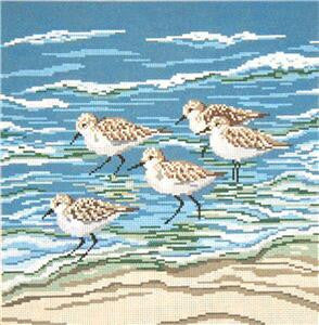 Canvas~ LG. Five Sanderlings in Surf 13 MESH handpainted Needlepoint Canvas~by Needle Crossings