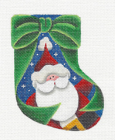 Stocking ~ Santa Mini Sock handpainted Needlepoint Canvas by Rebecca Wood *** MAY NEED TO BE SPECIAL ORDERED***
