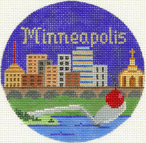 "Round~4.25"" Minneapolis handpainted Needlepoint Canvas~by Silver Needle"