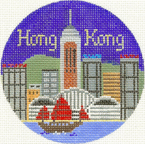 "Round~4.25"" Hong Kong handpainted Needlepoint Canvas~by Silver Needle"