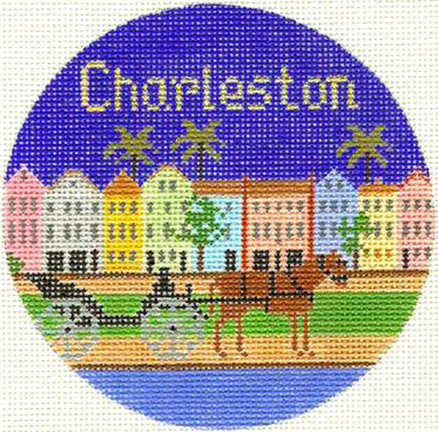 "Round~4.25"" Charleston handpainted Needlepoint Canvas~by Silver Needle"