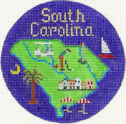 "Round~4.25"" South Carolina handpainted Needlepoint Canvas~by Silver Needle"