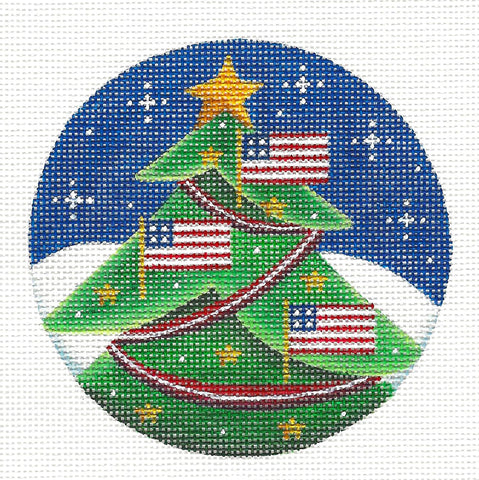 Round ~ Flag Tree handpainted Needlepoint Canvas by Rebecca Wood *** MAY NEED TO BE SPECIAL ORDERED***