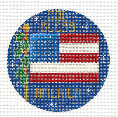 Round ~ God Bless America Flag handpainted Needlepoint Canvas by Rebecca Wood