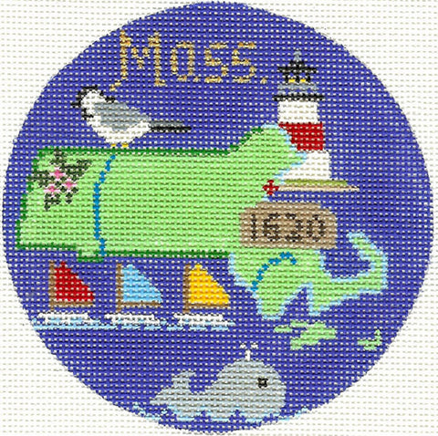 "Round~4.25"" Massachusetts handpainted Needlepoint Canvas~by Silver Needle"