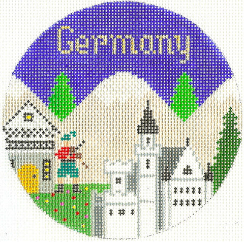 "Round~4.25"" Germany handpainted Needlepoint Canvas~by Silver Needle"