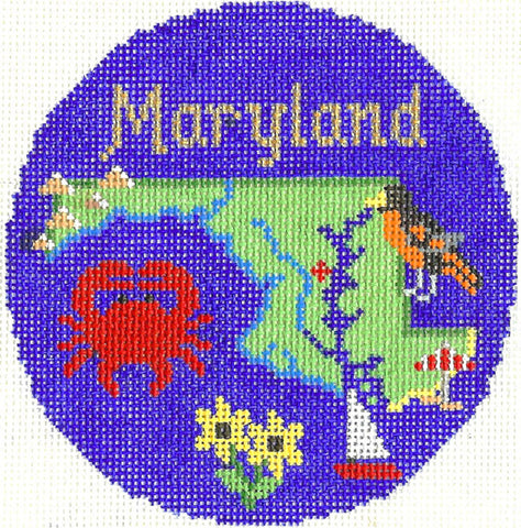 "Round~4.25"" Maryland handpainted Needlepoint Canvas~by Silver Needle"