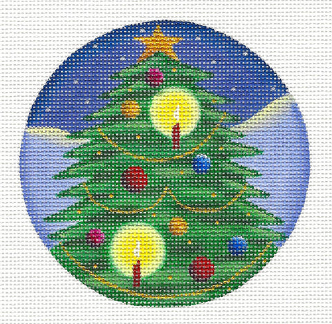 Round ~ Christmas Tree handpainted Needlepoint Canvas by Rebecca Wood