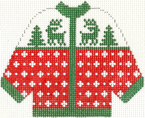 Sweater ~ 2 Reindeer KNITTED CARDIGAN SWEATER handpainted Needlepoint Canvas Silver Needle