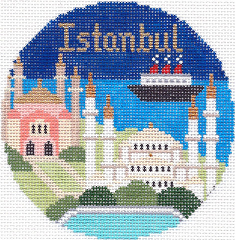 "Round~4.25"" Istanbul handpainted Needlepoint Canvas~by Silver Needle"