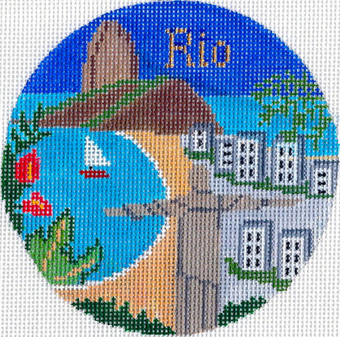 "Round~4.25"" Rio de Janeiro, Brazil handpainted Needlepoint Canvas~by Silver Needle"