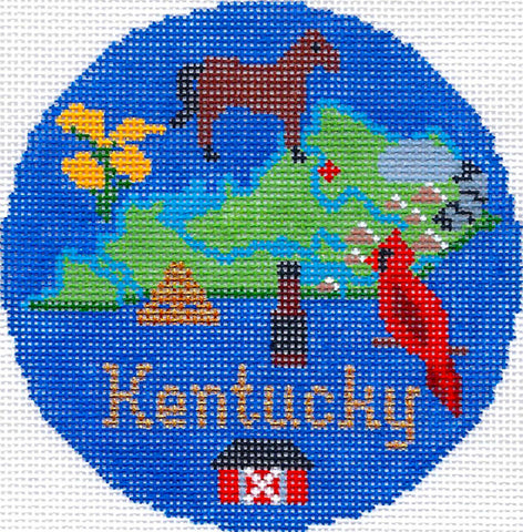 "Round~4.25"" Kentucky handpainted Needlepoint Canvas~by Silver Needle"