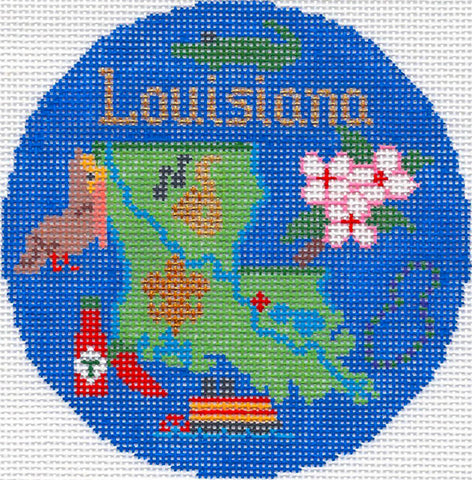 "Round~4.25"" Louisiana handpainted Needlepoint Canvas~by Silver Needle"