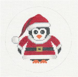 Round~Penguin in a Santa Suit handpainted Needlepoint Canvas Orna. by JP Needlepoint