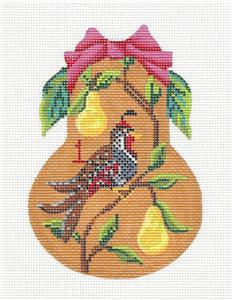 Kelly Clark Pear – 1 Partridge & Pear Tree Pear handpainted Needlepoint Ornament Kelly Clark