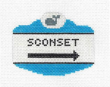 Canvas~SCONSET NANTUCKET, MA. SIGN Needlepoint Canvas Ornament by Silver Needle