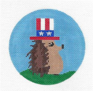 Round- Patriotic Hedgehog with Top Hat handpainted Needlepoint Canvas by ZIA ~ Danji