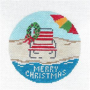 "Round~4"" Beach Chair & Umbrella Merry Christmas 3.5"" Needlepoint Canvas Needle Crossings"