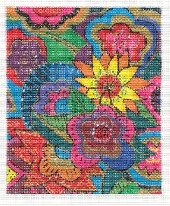 Canvas ~ SECRET GARDEN by Laurel Burch handpainted Needlepoint Canvas from Danji Designs