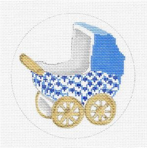 Baby Boy Blue Fishnet Carriage handpainted Needlepoint Canvas by Edie & Ginger