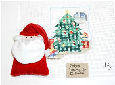 CANVAS SET~SANTA & CHRISTMAS TREE CANVAS SET ~ HP Needlepoint M.S. Ornament Kathy Schenkel