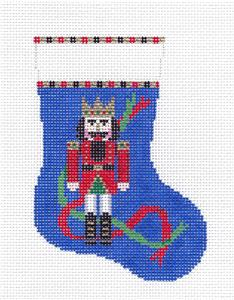 Christmas~Nutcracker King Mini Stocking handpainted 13m Needlepoint Canvas Susan Roberts