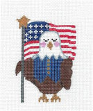 Canvas- Patriotic Eagle w/ Flag & STITCH GUIDE HP Needlepoint Ornament CH Designs Danji