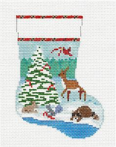 Christmas~Forest Friends Mini Stocking 13 mesh handpaint Needlepoint Canvas Susan Roberts