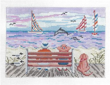 Canvas~Sitting Together on the Boardwalk handpaint Needlepoint Canvas Needle Crossings