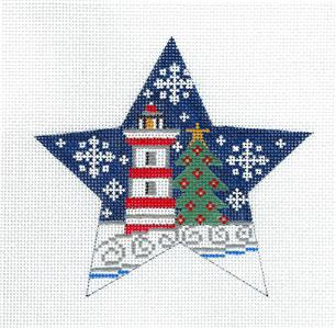 Star~Winter Lighthouse STAR Ornament handpainted Needlepoint Canvas CH Designs ~Danji