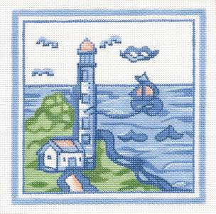"Canvas~Hadley Pottery Small Lighthouse handpaint Needlepoint Canvas 5""x5"" Silver Needle"