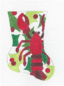 Stocking~Lobster & Holly Mini Stocking handpainted Needlepoint Ornament Raymond Crawford