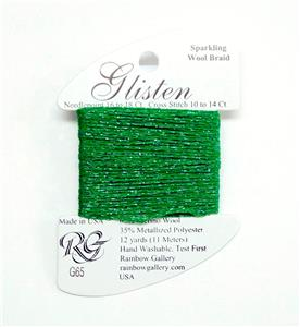"GLISTEN Sparkling Braid #65 ""Kelly Green""Needlepoint Thread Rainbow Gallery"