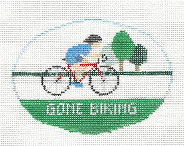 Oval~Gone Biking handpainted Needlepoint Canvas~by Kathy Schenkel ***SPECIAL ORDER***