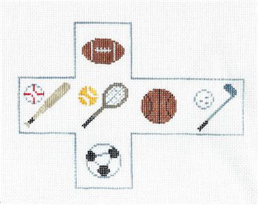 Canvas~ All SPORTS CUBE Ornament handpainted Needlepoint Canvas by Kathy Schenkel