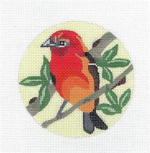 "Round~Flame Tanager Bird handpainted 4"" Rd. Needlepoint Ornament Canvas Melissa Prince"