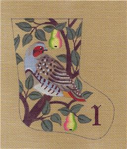 Stocking~Partridge in a Pear Tree HP Mini Sock Needlepoint Ornament by LIZ from S.Roberts