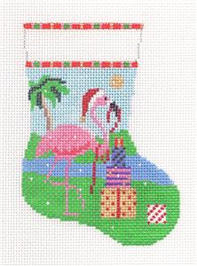 Christmas~Pink Flamingo & Gifts Mini Stocking handpainted 13m Needlepoint Canvas S.Roberts
