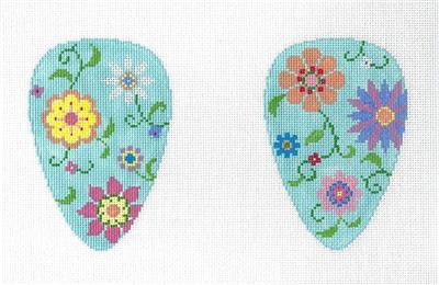 2 Sided Field of Flowers SCISSOR CASE handpainted Needlepoint Canvas by Susan Roberts
