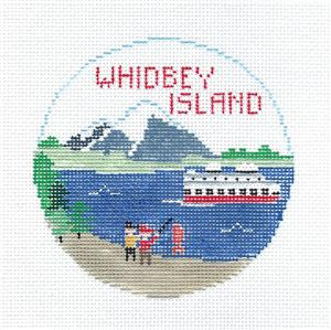 Travel Round~WHIDBEY ISLAND, WASHINGTON handpainted Needlepoint Canvas~by Kathy Schenkel**MAY NEED TO BE SPECIAL ORDRED**