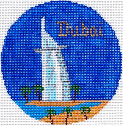 "Round~4.25"" Dubai handpainted Needlepoint Canvas~by Silver Needle"