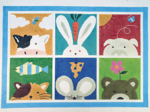 Rug~6 Animals Collage Handpainted Needlepoint Rugs by LEE Needle Art 12 Mesh